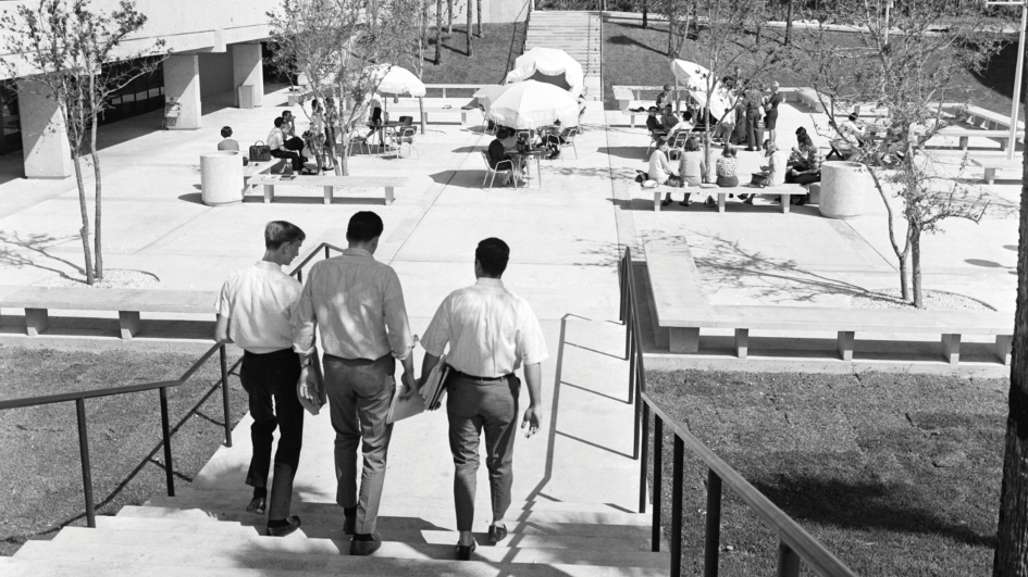Students walking down the stairs in newly constructed Kendall campus