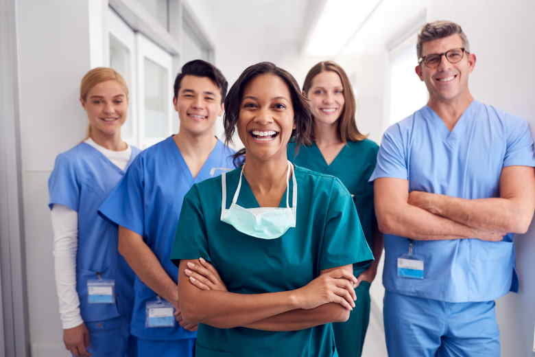 Groups of healthcare professionals smiling