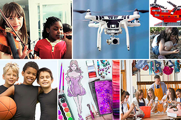 Collage of different activities for children such as music, basketball, drawing, Legos, arts and crafts and flying drones