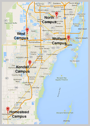 map of south florida showing available campuses for summer camps: homestead, kendall, north, west, wolfson
