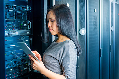 Student Working On A Server