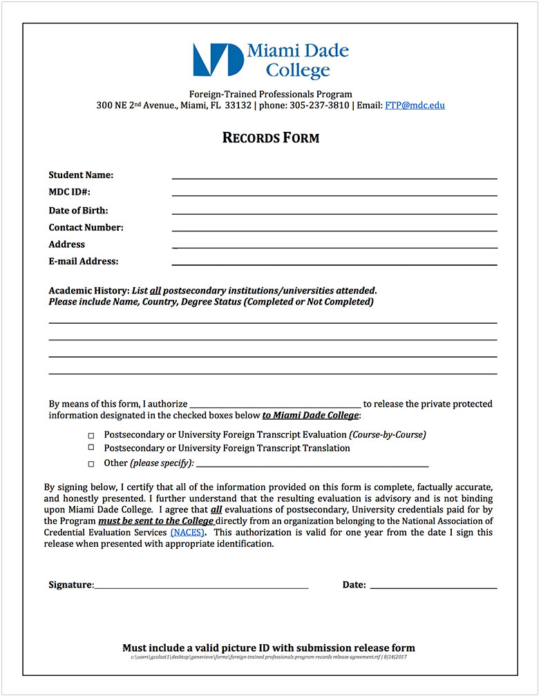ftp-records-form Sample Application Form For A Arts Program on