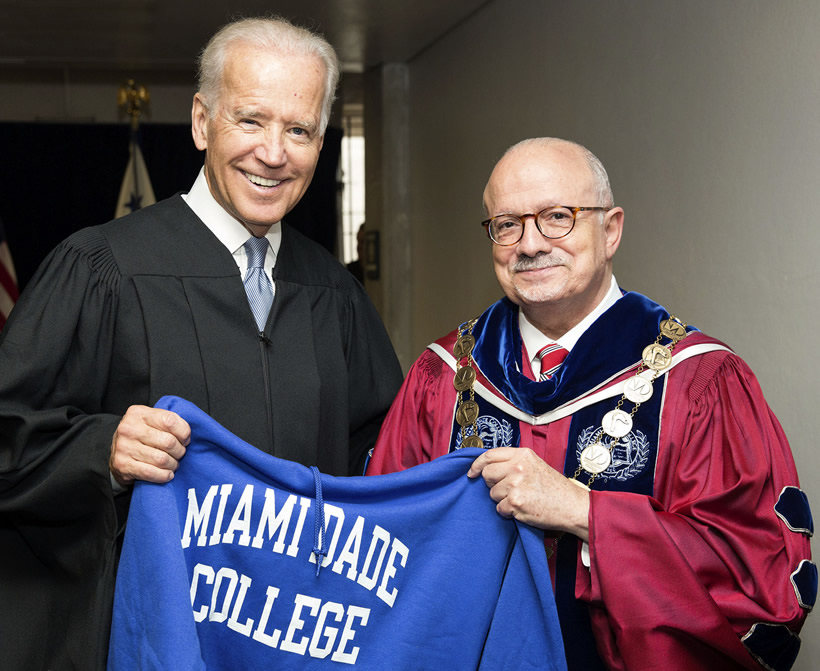 U.S. Vice President Joe Biden and MDC President Dr. Eduardo J. Padrón at MDC