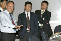Chinese air traffic controllers at a training session.