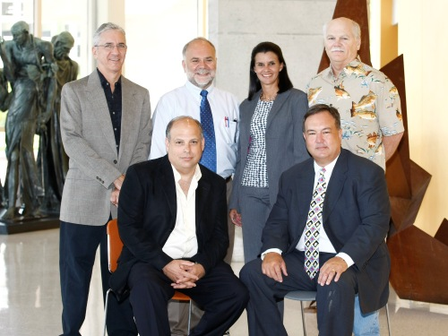 Left to right beginning with top row: Richard Rose, D.M.A.; Eugene Greco, Ph.D.; Alina Coronel, M.S.; Christopher Rogers, Ph.D.; Michael Di Liddo, D.M.; and Alex Gancedo, J.D.