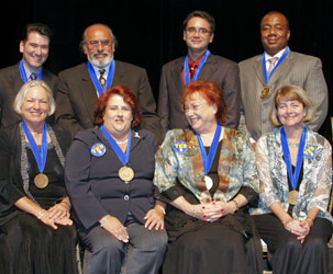 The 2008 Endowed Teaching Chair honorees: (standing, from left) Dr. Luis Beltrán, Alberto Meza, Dr. Alvio Domínguez, Kenneth Lee (seated, from left) Dr. Sandra Schultz, María Mari, Dr. Irene Lipof, Dr. Cynthia Schuemann