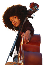 Esperanza Spalding with her bass