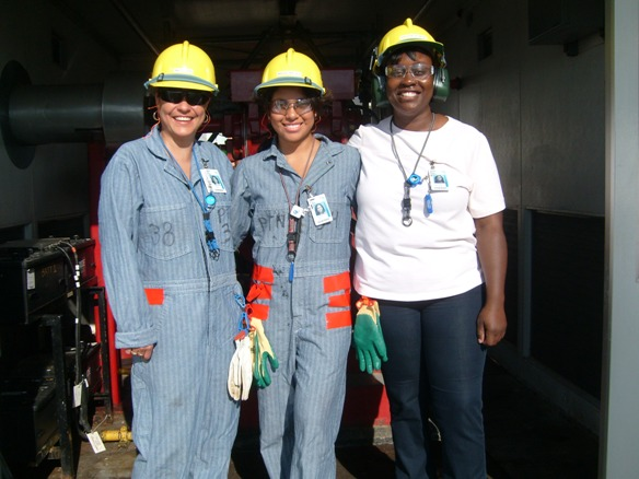 Three women in hard hats