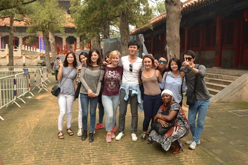 Stephanie Espinoza and Juan Vásquez with Chinese friends in China