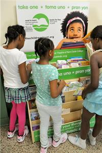 Children picking out free books
