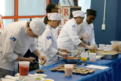 Culinary students making ceviche