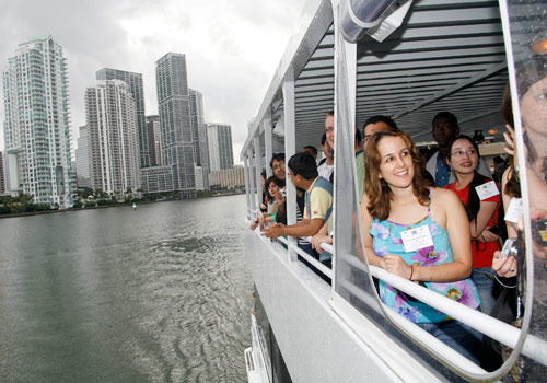 Haydée María Domínguez Tejo from the Dominican Republic enjoys a boat tour of Biscayne Bay with other Fulbright students.