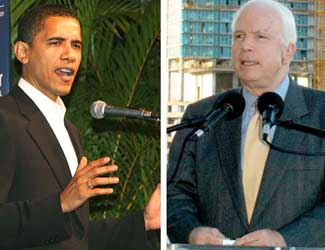 Sens. Barack Obama (D-Ill.) and John McCain (R-Ariz.)