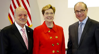President Padrón, President of the American Council on Education Molly Corbett Broad and President of Northeastern University Joseph Aoun.