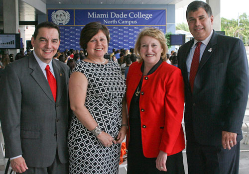 North Campus President Vicente, FedEx's Blanco-Reyes, MDC trustee Villamil, HSF's Lockheimer