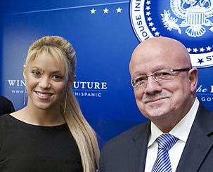 Shakira and President Padrón.