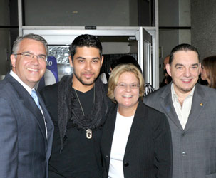 William R. Gil; actor Wilmer Valderrama; U.S. Rep Ileana Ros-Lehtinen; and Dr. José A. Vicente, president of MDC's North and West campuses