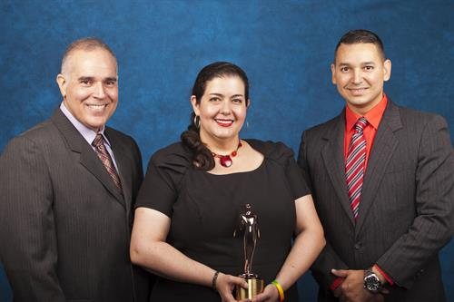 From left producer/writer Tony Leal, voice over talent Eva Arronte and editor Maikel García