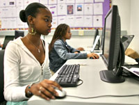 Female student at a computer