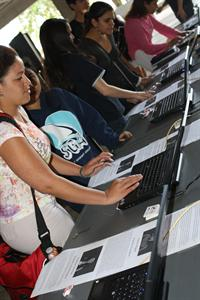Students registering to vote on computers