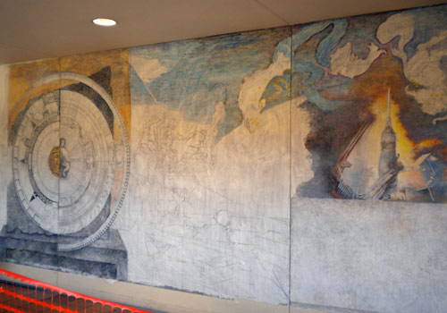 Panoramic view of Wolfson mural