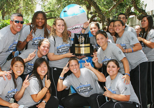 Sharks' Softball Team with their championship award