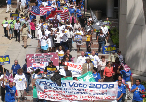 Hundreds of people attended a pre-election voter rally at Miami Dade College's Wolfson Campus.