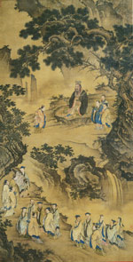 Ancient Ming dysnasty painting of Confucius with his pupils in a serene landscape.