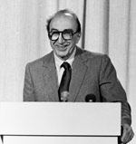 Dr. Michael DeBakey speaking from a podium