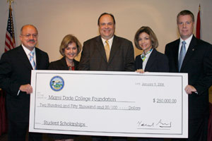 City of Doral Mayor Juan Carlos Bermudez presented MDC's West Campus with a check for $250,000