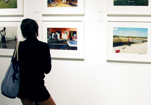 A visitor enjoys the exhibition.