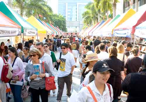 Crowds attending Miami Book Fair International's street fair