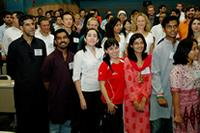Xaher Gul, left, stands with other 2009 Fulbright Gateway Orientation participants.