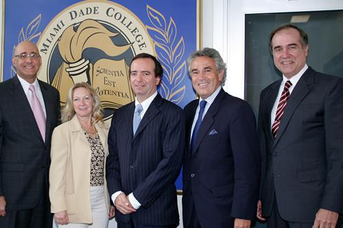 From left, Dr. Rolando Montoya, MDC Provost; Jane Ann Williams, executive director of MDC's Office of International Education; Chilean Ambassador to the U.S. Arturo Fermandois;Chilean Consul General Juan Luis Nilo; and Jeff Olesen, Diplomat in Residence.