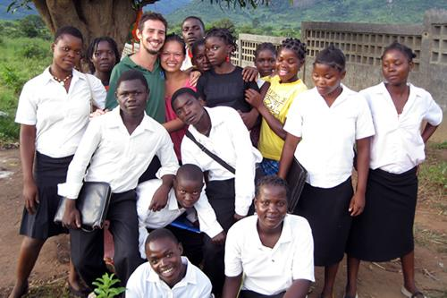 Daniel Carvalho and students in Mozambique