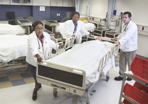 Nursing students in the simulated hospital wing at Medical Center Campus