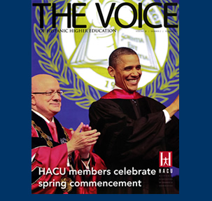 Dr. Padrón and President Obama on the cover of 'The Voice of Hispanic Higher Education' magazine.