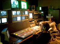 Students working in the control room at the MDCTV studio