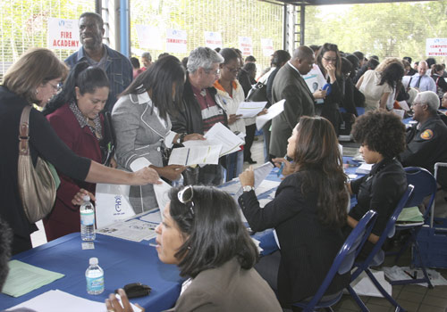 Job seekers at the North Campus