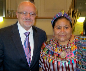 MDC President Padrón meets with Rigoberta Menchú, 1992 Nobel Peace Prize Laureate.
