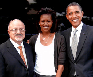 Dr. Eduardo J. Padrón with the First Lady and the President, Michelle and Barack Obama.