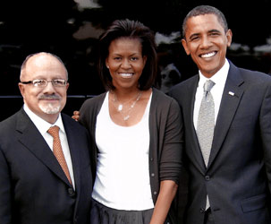 Miami Dade College President Eduardo J. Padrón with Michelle and Barack Obama during a recent South Florida campaign stop.