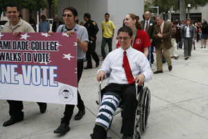 MDC Students Rally and Lead Procession to Cast Early Votes in Florida Primary