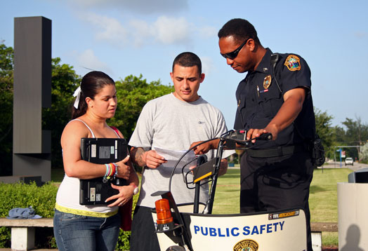 Public Safety Officer helping students