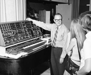 Professor William Hoskins introduced the Moog synthesizer to South Campus students in 1970.