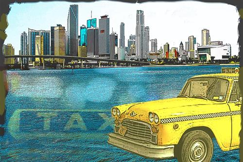 Illustration of Miami taxi service