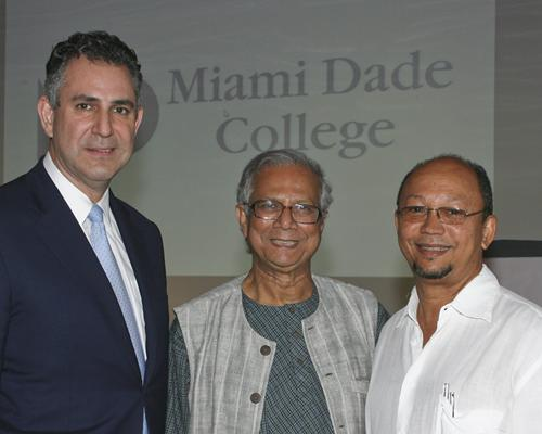 From left, U.S. Secretary of Commerce Francisco Sánchez, Dr. Muhammad Yunus and Leslie Voltaire