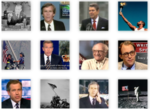 Collage of news interview clips on TV
