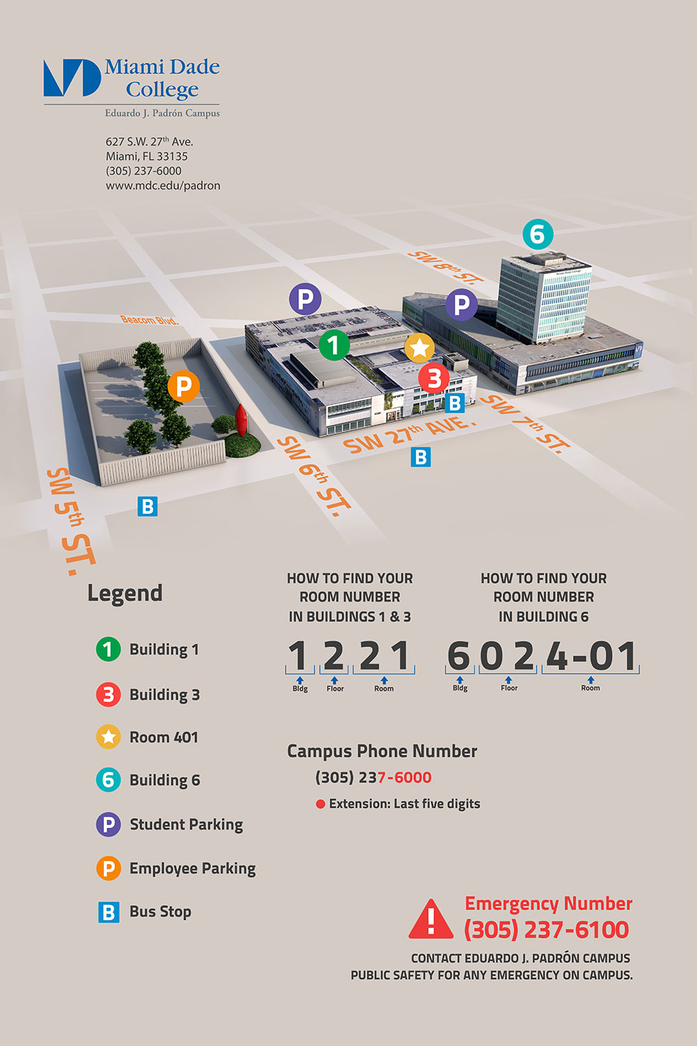 campus map and directions - eduardo j. padrón campus | miami