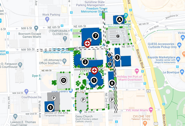 Campus Map And Directions Wolfson Campus Miami Dade College
